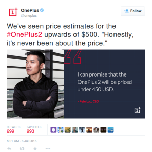 Oneplus2 Pricing design by Oneplus CEO Pete Lau