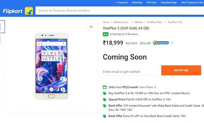 Flipkart Is Offering OnePlus 3 at Rs. 18,999 - Big Shopping Days Sale-Indian-Tech-Blog-Blogger-India-