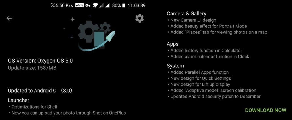 OnePlus Rolled Out Oreo 8.0 Update For OnePlus 5 How To Get The Oreo Update Now-techinfoBiT-Changelog